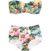 swimwear,green,jungle,two-piece