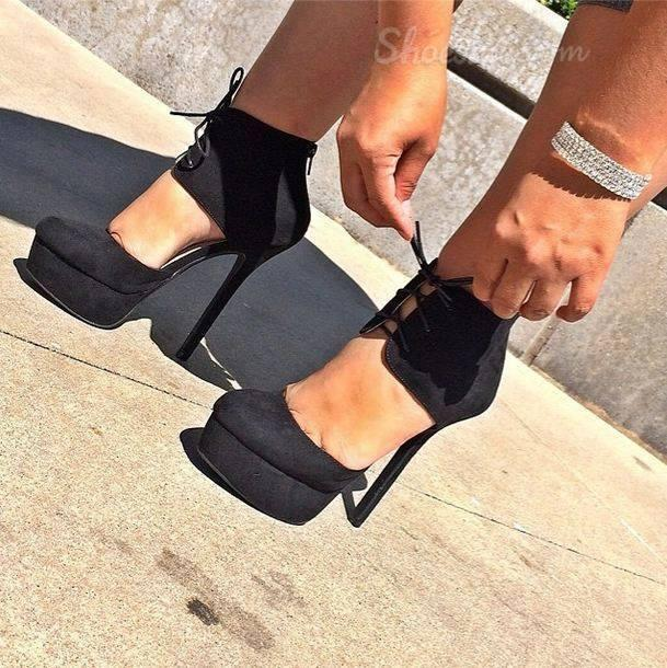 Fashionable Black Suede Ankle Strap Platform High Heel Shoes