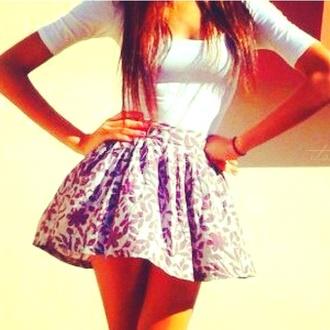 skirt floral t-shirt shirt @clothes @white @skirt @cute @summer flowered shorts white crop tops quarter sleeve