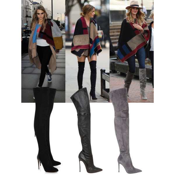 2015 new designer pointed suede leather long boots celebrity women over the  knee boots black grey ... 25c4d64938