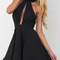 Black entrapment halter cut out back skater dress - choies.com
