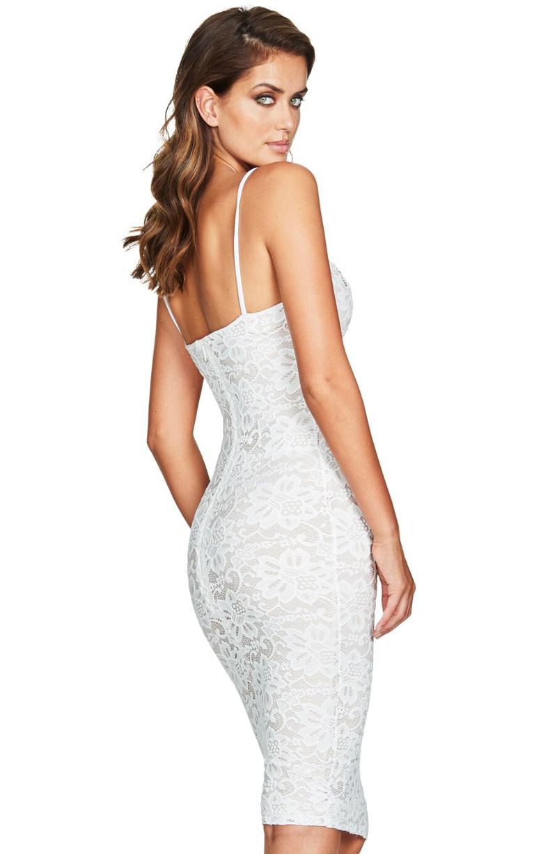 Lace Midi Bandage Dress White