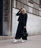 dress,tumblr,maxi dress,black dress,bag,black bag,sneakers,white sneakers,shoes