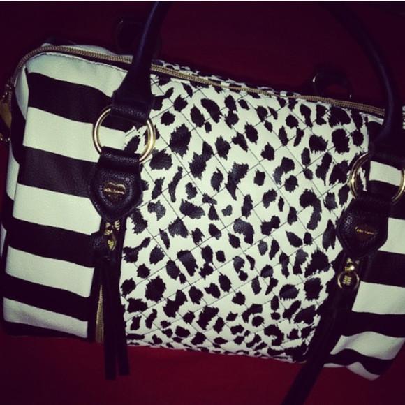black and white bag lepoard print stripe handbag