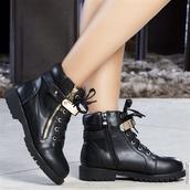 shoes,bottine noir plaque doré