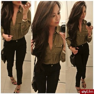 blouse shoes beautiful black pants jeans summer outfits cool girl style nice combination green blouse summer love