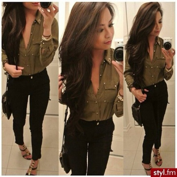 blouse shoes green blouse black pants summer love beautiful nice combination summer outfits cool girl style jeans