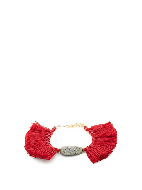 ELISE TSIKIS tassel beaded red jewels