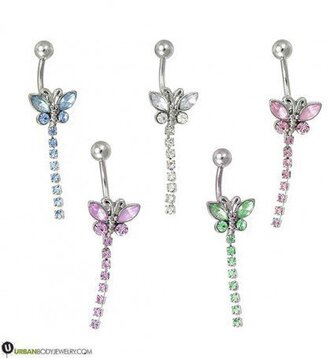 jewels dangle silver white pink green blue belly button ring purple rhinestones