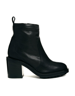 Mango | Mango Elsa Black Leather Ankle Boots at ASOS