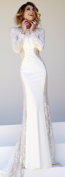 maxi dress prom dress prom cream classy long sleeve