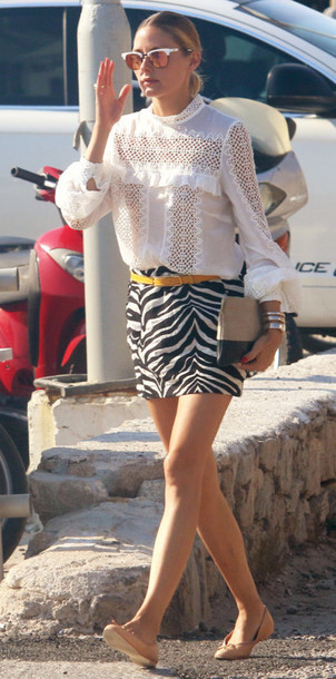 blouse skirt mini skirt flats blogger olivia palermo sunglasses clutch lace top white top long sleeves black and white eyelet detail eyelet top white blouse white lace top white sunglasses mirrored sunglasses zebra print belt yellow belt pouch bracelets ballet flats spring outfits