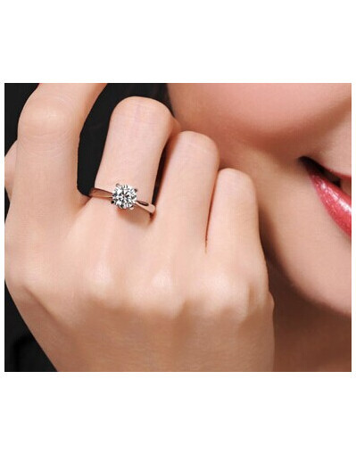 Classic platinum ring diamond wedding rings for women clear wedding