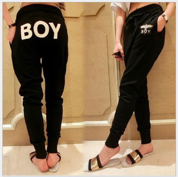 sportswear sports pants pants harem pants black pencil pants boy london casual pants long pants long trousers loose pants