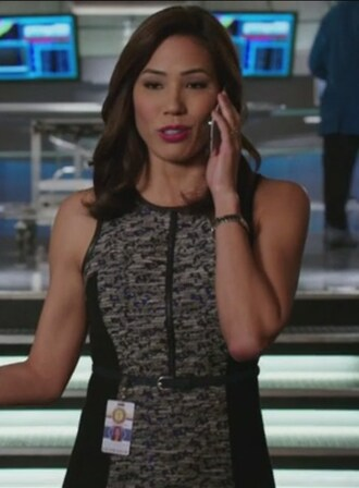 dress tweed flounce grey angela montenegro bones tv show michaela conlin sleeveless leather