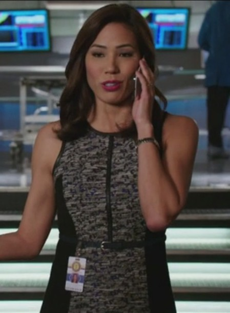 dress,tweed,flounce,grey,angela montenegro,bones tv show,michaela conlin,sleeveless,leather