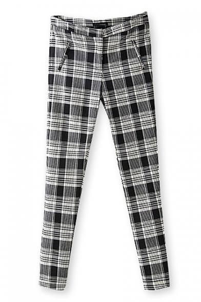 Casual free wild style plaid skintight elastic pant