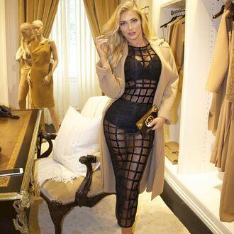 dress mischievous socialite mesh dress see through dress black dress midi dress grid dress blonde hair maxi dress