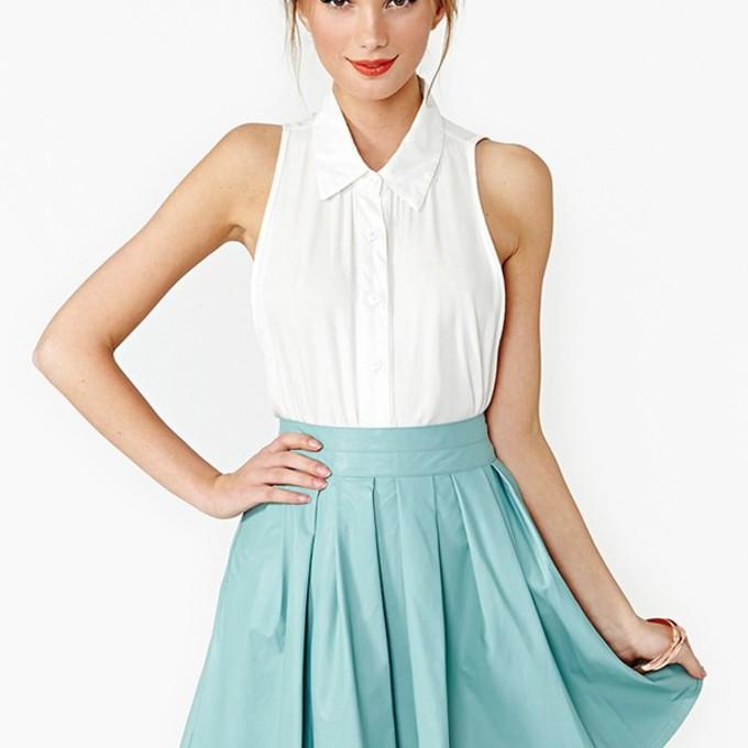 Sleeveless White Skirt Shirt Button Up Clothes Sleeveless