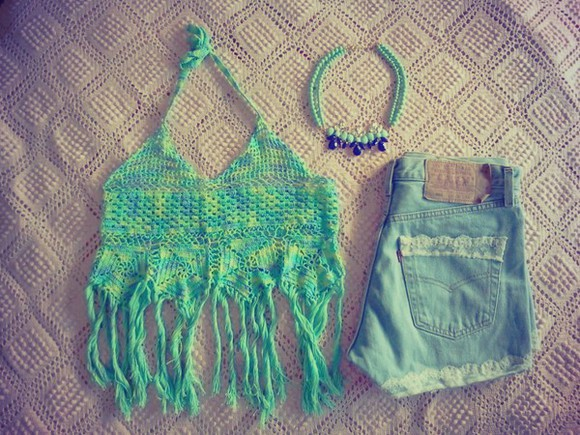 crochet crochet top top denim shorts crochet bikini crochet crop top blue top lace shorts jeans jean shorts, light wash, high waisted jean shorts light wash blue necklace statement necklace statement neckpiece