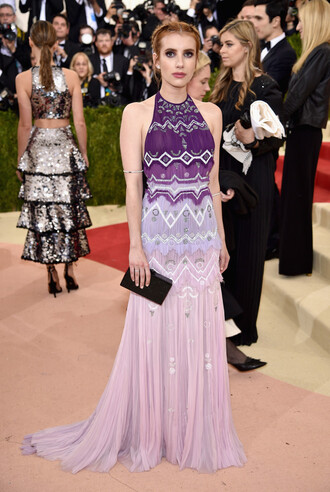 dress emma roberts purple gown prom dress met gala bag clutch purple dress halter dress