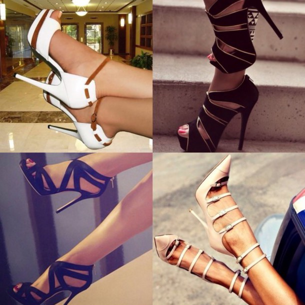 Shoes: high held high heels heels black heels white heels sun