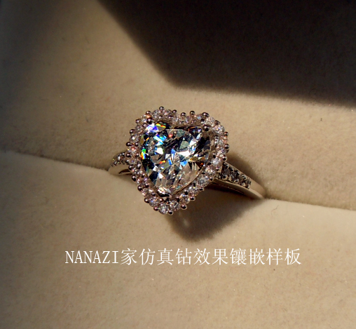 high quality jewelry Sona jz93 full rhinestone ring zircon ring lovers heart gem 18k accessories-inRings from Jewelry on Aliexpress.com