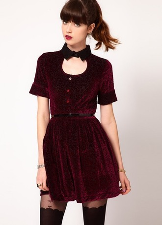 dress velvet cute bow red dress