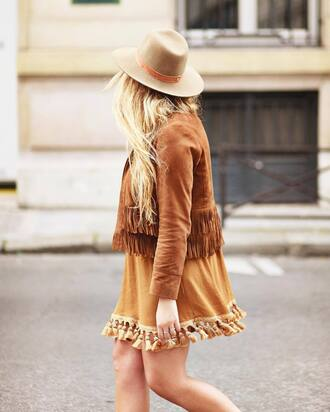 dress french girl hat fringes fringed dress jacket suede sunglasses fringed jacket