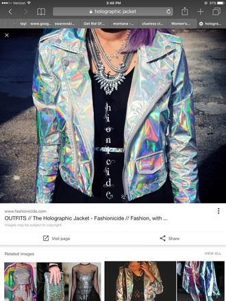 jacket iridescent holographic
