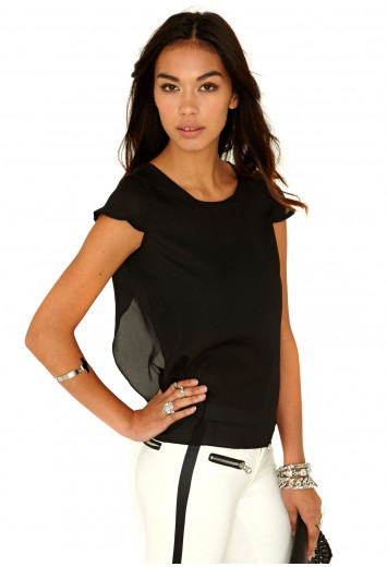 Missguided - Doriana Chiffon Open Back Top In Black
