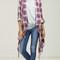 Plaid fringe roll up sleeve cardigan