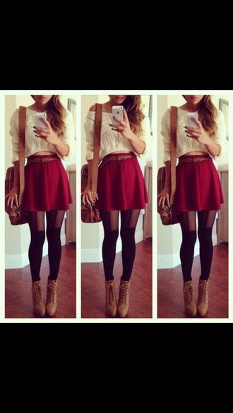 cropped sweater red skater skirt sweater top crop tops skirt