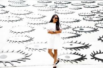 inside in inside out blogger denim dress white dress birkenstocks dress jewels shoes sunglasses