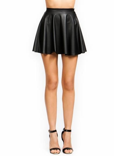 Faux-Leather-Skater-Skirt BLACK MOCHA - GoJane.com