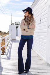 prosecco and plaid,blogger,jeans,sunglasses,scarf,jacket,hat,flare,animal print,kick flare jeans