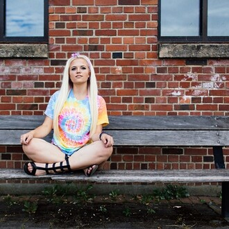 cool tie dye acid wash dye t-shirt top boho gypsy girly trendy chic idc colourful colours rainbow yey
