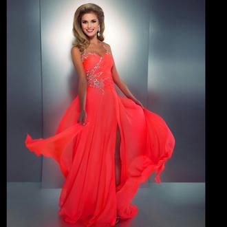 dress orange dress coral dress prom dress