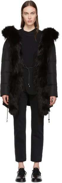 Yves Salomon coat fur black