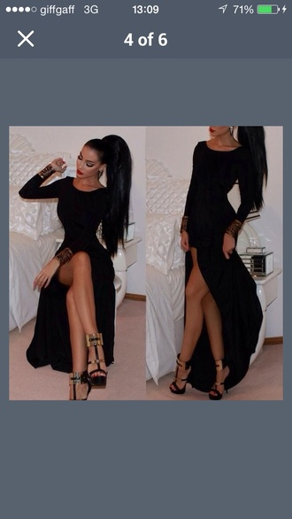 maxi dress dress black black dress long sleeve dress cute dress cute gown long prom dress black heels high heels slit dress