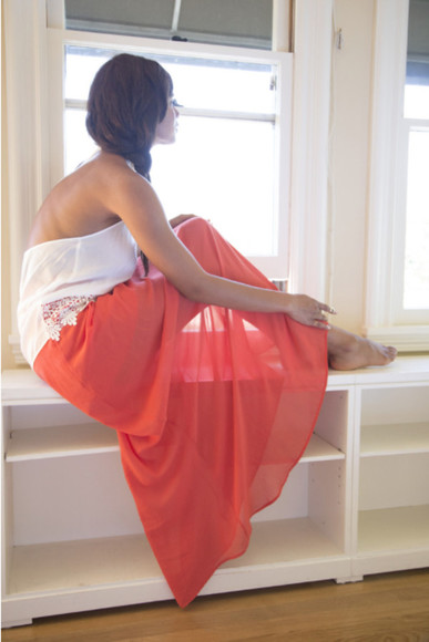 skirt orange maxi skirt maxi skirt chiffon skirt chiffon maxi skirt summer skirt summer skirts hipster hipster skirts white top white halted top lace top lace trim lovely girl girly boho hippie bohemian skirt