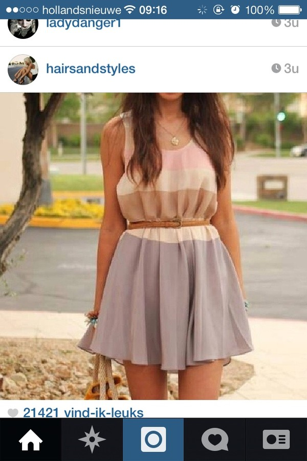 dress pink blue brown belt cute short