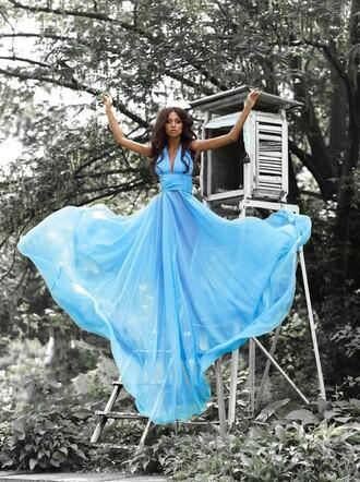 dress prom dress blue dress blue prom dress sexy dress v neck halter dress
