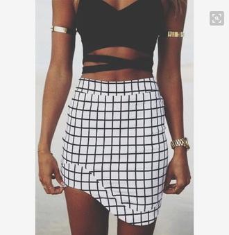 skirt black and white asymmetrical