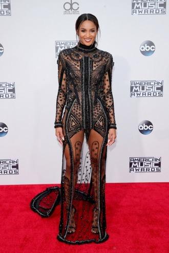 dress black dress see through dress sheer ciara amas 2015 embellished dress