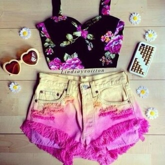 blouse daisy top black crop top black green purple flowers flower shirt yellow pink floral denim shorts denim shorts heart sunglasses studs phone cover stud phonecover crop tops