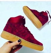 shoes,sneakers,nike,nike sneakers,nike air force 1,burgundy,burgundy shoes,nike shoes,nike air force,nike air force 1 high top,burgundy nike,burgundy air force,nike high tops,velvet,high top sneakers