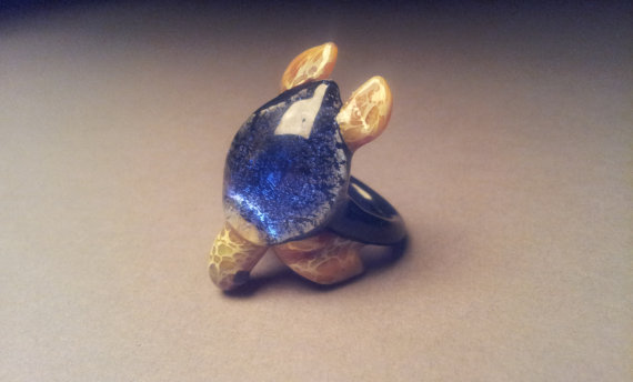 Sea Turtle Ring with Dichroic Blue Colored Turtle by Glassnfire