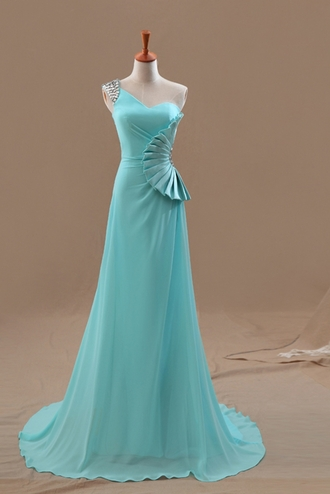 dress fan shape fan-shape fan shaped fan-shaped light blue light sky blue sky blue one shoulder turquoise prom dress