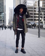 alexander liang,blogger,coat,sweater,jeans,shoes,jewels,gloves,menswear,mens coat,sneakers,adidas,yeezy 350 boost
